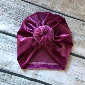 Other - Brand New Raspberry Velvet Baby Girl Knot Turban